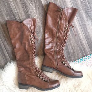 Brown Tie Up Lace Up Boots Size 7 Croft Style